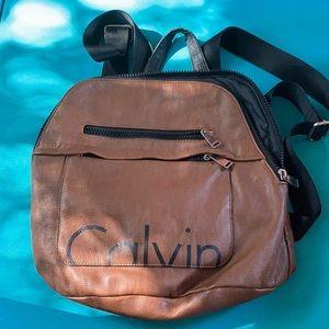 Calvin Klein brown black soft nice backpack purse